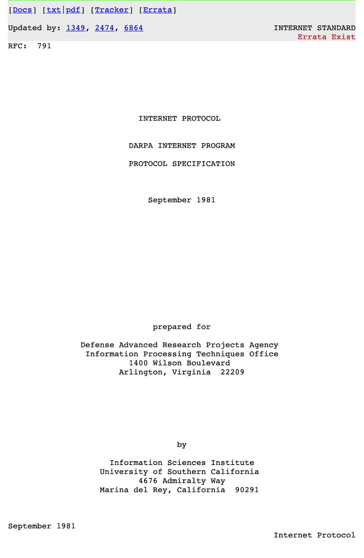 Cuarta versión del protocolo de Internet de septiembre de 1981