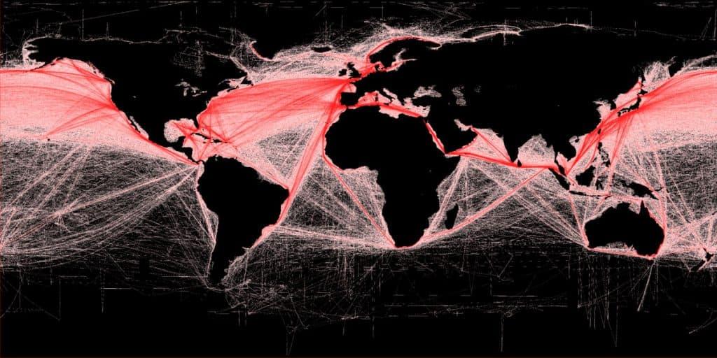 Mapa del mundo dibujado marcando todas las rutas marítimas