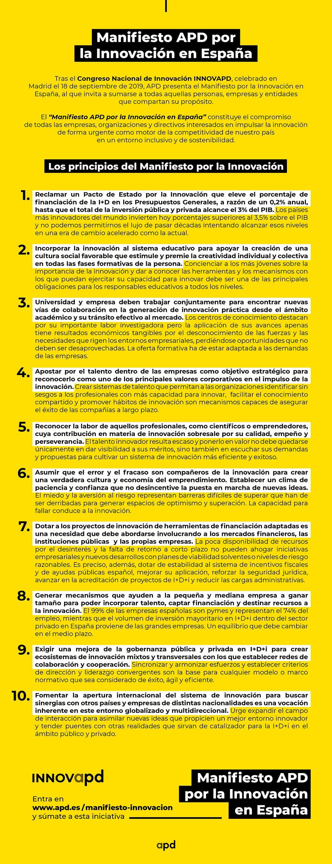 Infografía del Manifiesto APD por la Innovación en España