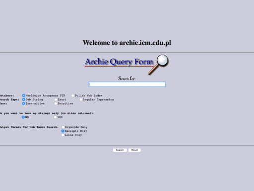 Archie legacy server at the University of Warsaw in Poland